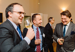 From left: Bogden Onaca from Société Générale shares a laugh with Christian Idczak-Descat from UTC and Jacek Matyjasik from PKN Orlen.