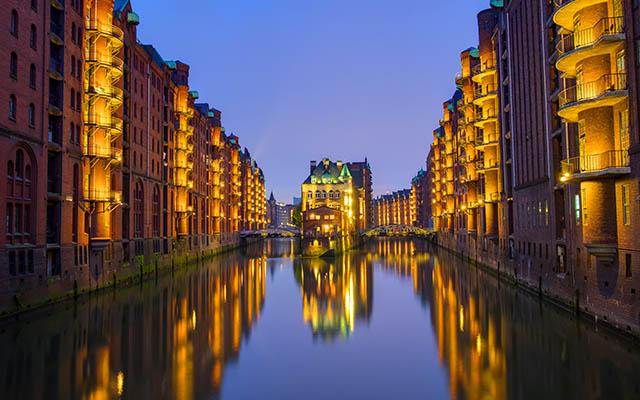 Night at the Speicherstadt in Hamburg, Germany