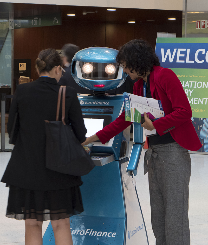 Robots greet visitors at EuroFinance 2017, Barcelona